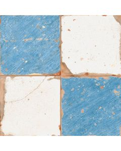 Aged Chateau Checkered Blue Wall & Floor Tiles 33x33cm